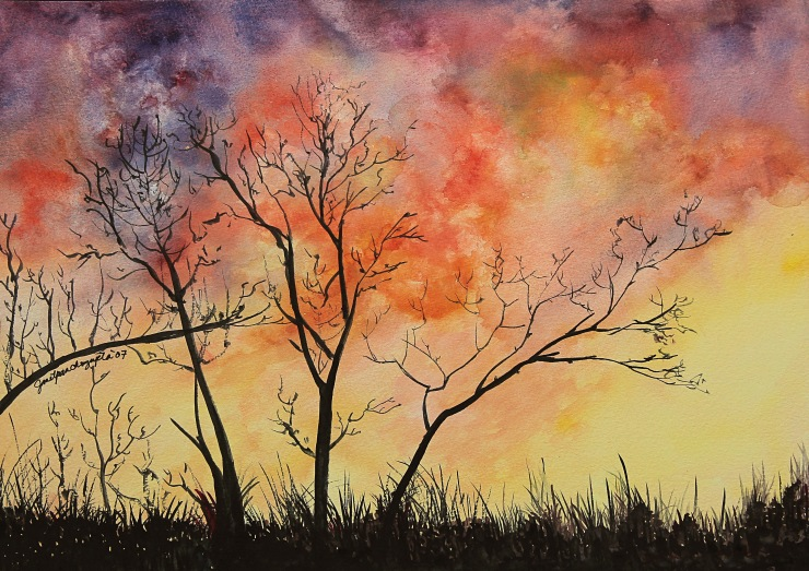 Fiery Sunset, watercolor on paper
